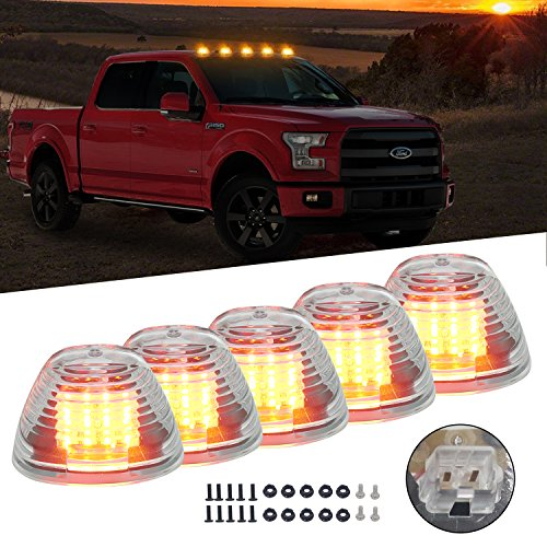 - Clear Cab Roof Top Marker Running Lamps Clearance Light Lamp Amber LED Light Bulbs for Ford Truck Pickup (Update Clear Cab + Amber LED)
