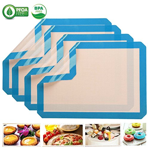 Silicone Baking Mat - Half Sheet 16.5 inch x 11 5/8 inch - Silicone Pastry Mat Large with Measurements Non-Slip Non-Stick Dough Rolling Baking Sheet PERFECT CONSISOven Liner for Fondant,PieSet of 6pcs