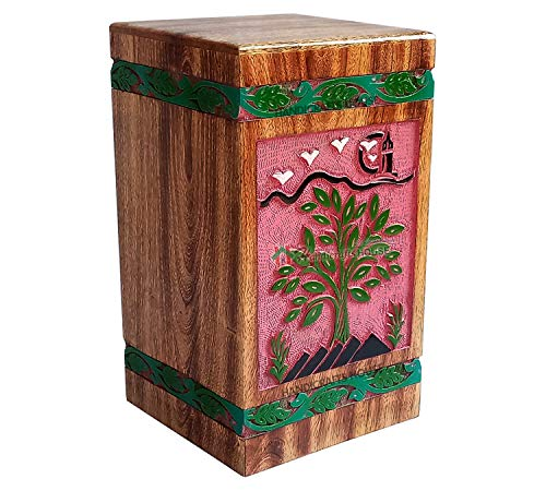 Handicrafts Tree of Life Engraving Wooden Urn