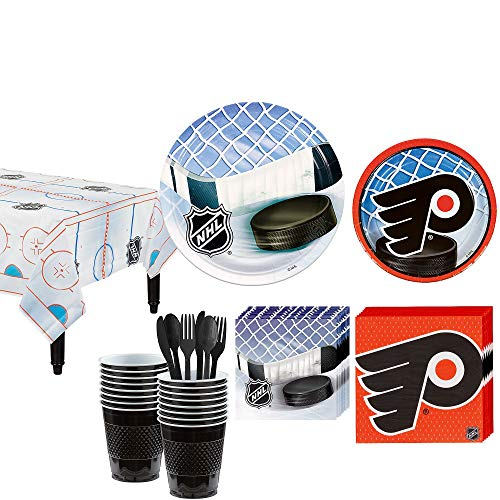 Party City Philadelphia Flyers Party Kit for 16 Guests, Includes Table Cover, Plates, Napkins and More -