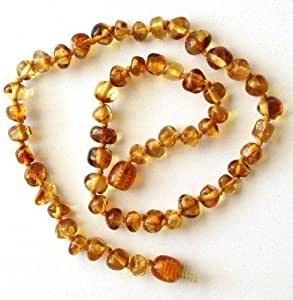 Bouncy Baby Boutiquetm Baltic Amber Teething Necklace - N15 Baroque Honey