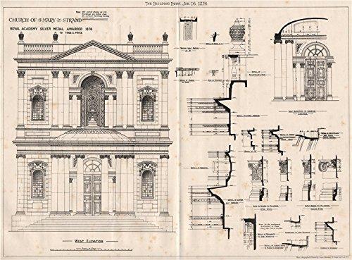 St. Mary-le-Strand church; Royal Academy silver medal - Thos. E. Pryce - 1876 - old print - antique print - vintage print - London art prints