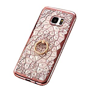 Galaxy S7 Edge Case Cover, GIZEE Luxury Sparkle Bling Crystal Clear 3D Diamond Ring Stand Soft TPU Protective Phone Shell for Samsung Galaxy S7 Edge (Rose Gold)