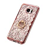 Galaxy S7 Case Cover, GIZEE Luxury Sparkle Bling Crystal Clear 3D Diamond Ring Stand Soft TPU Protective Phone Shell for Samsung Galaxy S7(Rose Gold)
