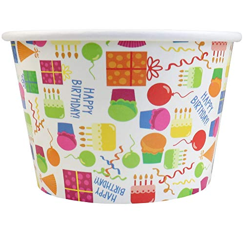 Birthday Party Paper Ice Cream Cups - 8 oz Cake Design Comes In Many Sizes! Fast Shipping - Frozen Dessert Supplies - 100 Count