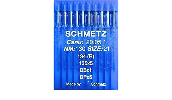 10/Schmetz redondo pist/ón coser agujas Sistema 134/ de la Industria St 70 R