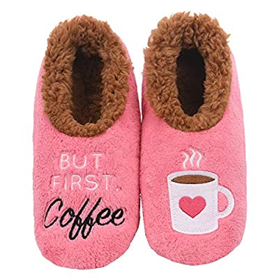 Snoozies Pairables Womens Slippers - House Slippers - But First Coffee