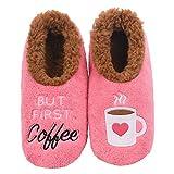 Snoozies Womens Classic Splitz Applique Slipper Socks | But First Coffee | Medium