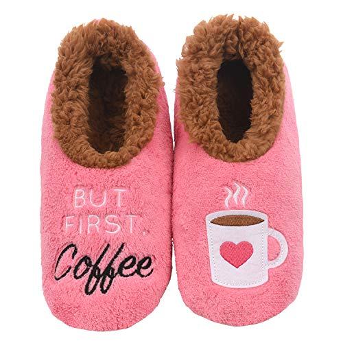 (Snoozies Womens Classic Splitz Applique Slipper Socks | But First Coffee | Small)