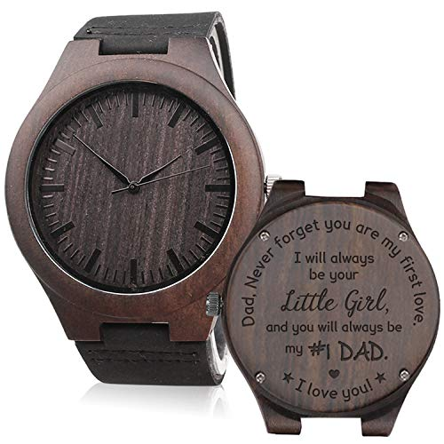 Engraved Wooden Watch for Men Analog Quartz Watch with Black Leather Strap - I Will Always Be Your Little Girl - Father's Day Gift for Dad Gift (Best Man Gift Ideas From Groom)