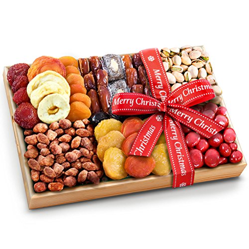 Extravagance Gift Basket - Golden State Fruit Merry Christmas Ribboned Sweet Extravagance Dried Fruits and Nuts Tray
