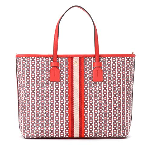 Tory Burch Gemini Link Canvas Small Tote in Liberty Red Gemini ()