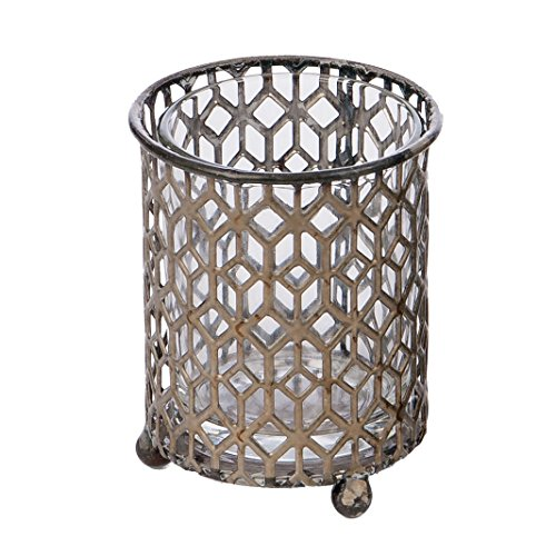 "Skalny Round Glass/Metal Votive Candle Holder, 2.75"" x 2.75"""