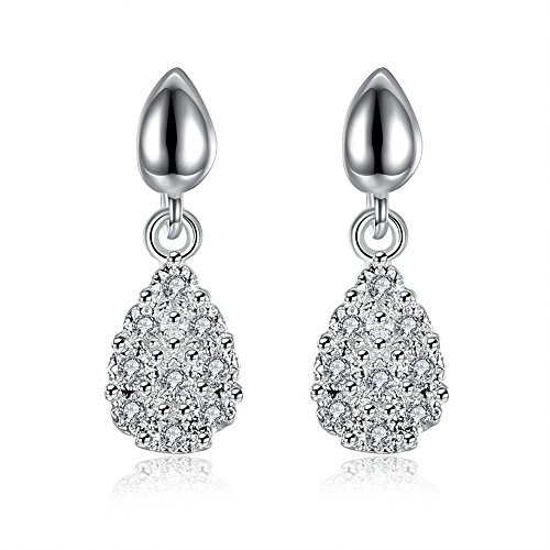 Women Valentine's Day Jewelry Love Sterling Silver Drop shaped Earrings for Girls