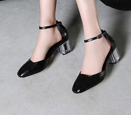 Vaneel Women Scaaa Closed-Toe 5.5CM Block Heel Buckle Sandals Shoes Black hkakvXAUfy