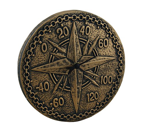 Zeckos Resin Outdoor Thermometers Bronze Finish Terracotta Compass Rose Wall Thermometer 12 X 2 X 1 Inches Bronze by Zeckos