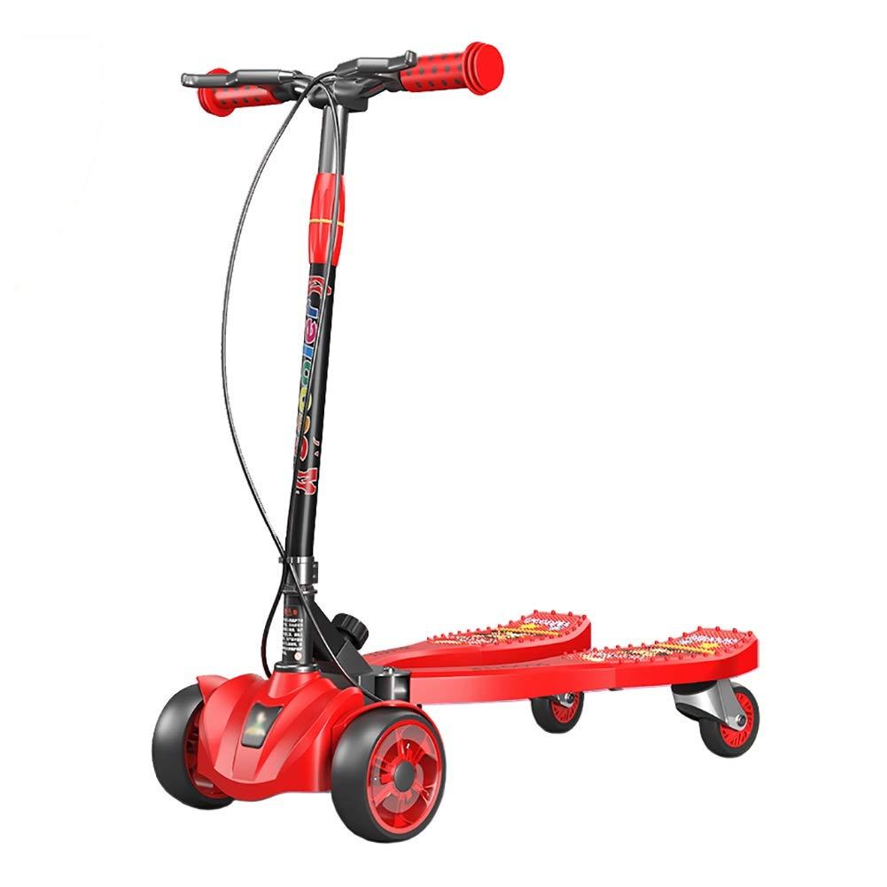 Unbekannt Scooter Roter nichtelektrischer Kinderscherenroller, 4-Rad-Kinderscooter für Jungen und Mädchen, 4-Gang-Stuntroller, 3-12 Jahre altes Kind