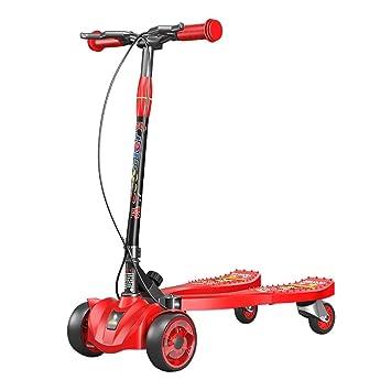 Patinete Rojo no eléctrico Tijeras para niños, 4 Ruedas para ...