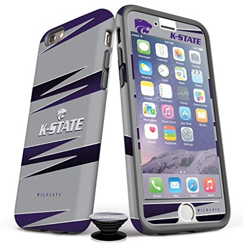 Phone Accessory Bundle for iPhone 7/8 Plus - Screen Protector, Matte iPhone Case, and Cell Phone Grip with Kansas State Design from Screenflair
