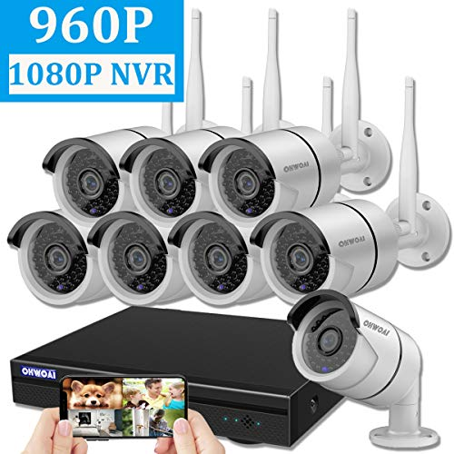 【2019 Newest】OHWOAI Security Camera System Wireless, 8CH 1080P NVR,8Pcs 960P HD Outdoor/ Indoor IP Cameras,Home CCTV Surveillance System(No Hard Drive)Weatherproof,Remote Access,Plug&Play,Night Vision