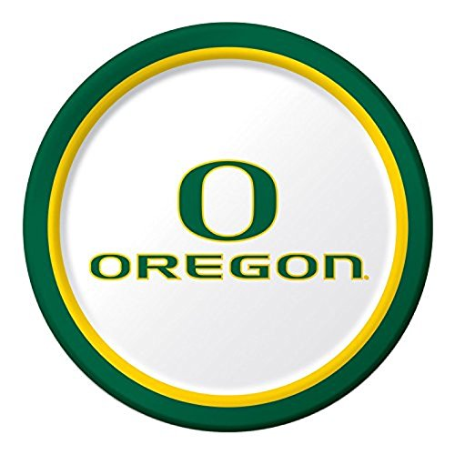 Round Oregon Ducks - 8-Count Round Paper Dinner Plates, University of Oregon