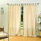 Lined-Golden Tab Top Sheer Sari Curtain / Drape / Panel – 60W x 120L – Piece