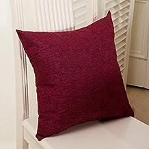 "MochoHome Cotton/Linen Blend Decorative Solid Square Throw Pillow Cover Case Pillowcase Cushion Sham - 24"" x 24"", Burgundy"