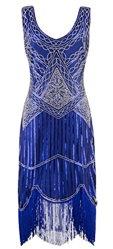 ZX-Dancewear-Women-1920s-Gatsby-Sequin-Embellished-Fringed-Flapper-Latin-Dress-X-Large-Blue
