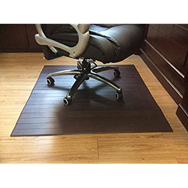 Office Factor 36 Inches By 47 Inches 5mm thick Bamboo Office Chair Mat Mahogany Color Good Quality