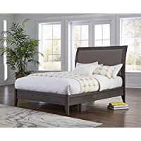 Modus Furniture International City II Upholstered Sleigh Bed in Basalt Gray Full