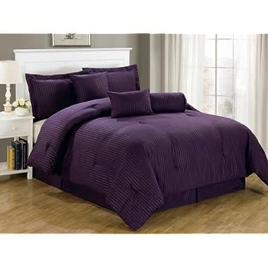 Chezmoi Collection 7-Piece Hotel Dobby Stripe Comforter Set, Queen, Purple