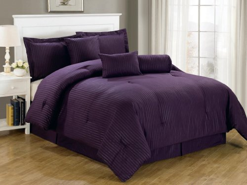 Chezmoi Collection 7-Piece Hotel Dobby Stripe Comforter Set, Queen, Purple
