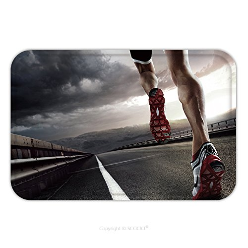 Flannel Microfiber Non-slip Rubber Backing Soft Absorbent Doormat Mat Rug Carpet Sport Runner Feet Running On Road Closeup On Shoe 223478332 for Indoor/Outdoor/Bathroom/Kitchen/Workstations