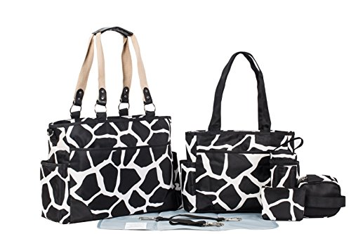 Black Giraffe Diaper Bag set
