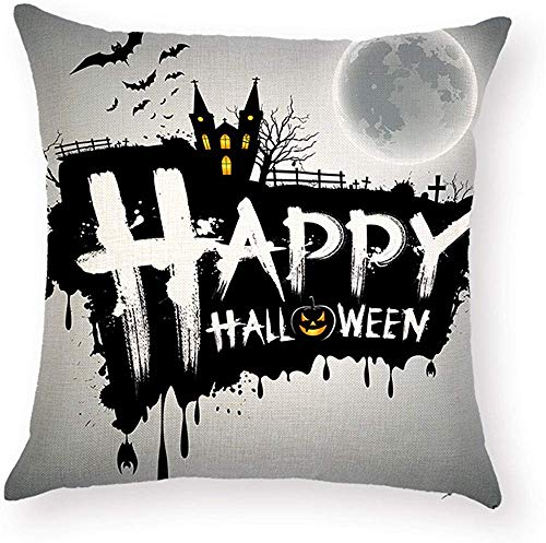Lovely Fashion Funny Pumpkin Sayings Happy Halloween Quotes Pillow Covers Decorative Waist Back Cushion Case Protector 18 x 18 inch Square for KTV Bar Couch Sofa Decor