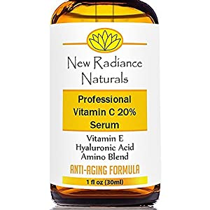 New Radiance Naturals Vitamin C Serum for Face 20% with Hyaluronic Acid, Organic Aloe + E for Anti-Aging, 1 oz