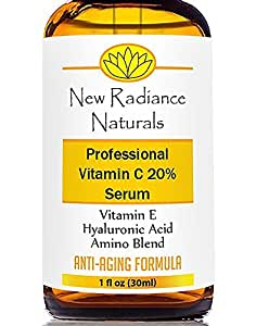 New Radiance Naturals - GUARANTEED Best Results Natural & Organic Anti-Aging Vitamin C Serum With 20% Vitamin C + E + 11% Hyaluronic Acid + MSM For Fading Wrinkles, Freckles, Acne Scars, Discoloration & Age Spots On Face And Hands. 1 Ounce.