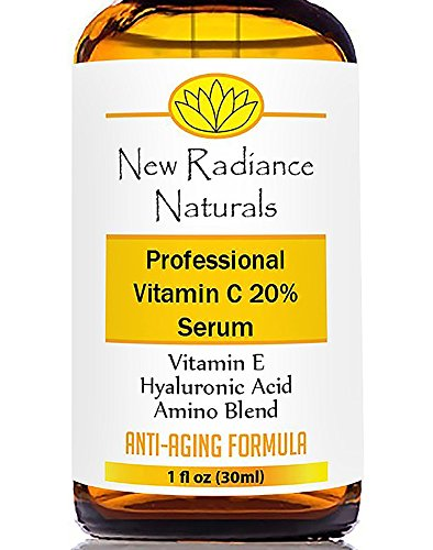 New Radiance Naturals - GUARANTEED Best Results Natural & Organic Anti-Aging Vitamin C Serum With 20% Vitamin C + E + 11% Hyaluronic Acid + MSM For Fading Wrinkles, Freckles, Acne Scars, Discoloration & Age Spots On Face And Hands. 1 Ounce. - Vitamin Radiance Cream