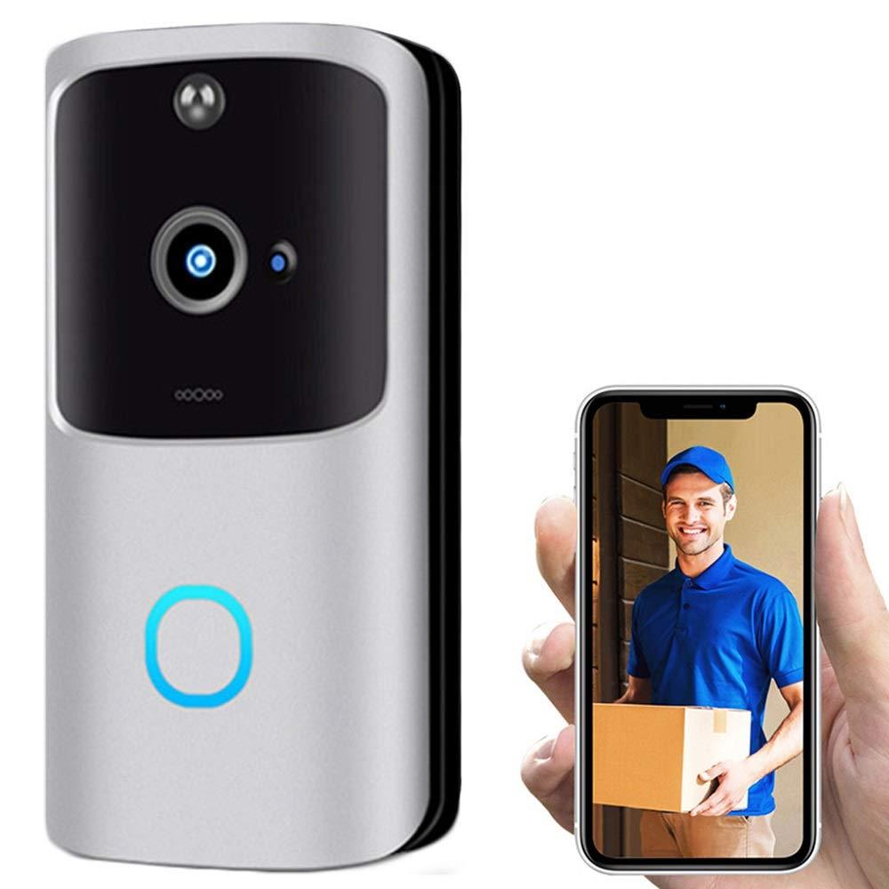 Wireless Video Doorbell Alert System, 720P HD Doorbell Camera Smart Video Phone Visual Intercom Door Bell Secure Camera, PIR Motion Detection (B (32GB TF Card), Slive)