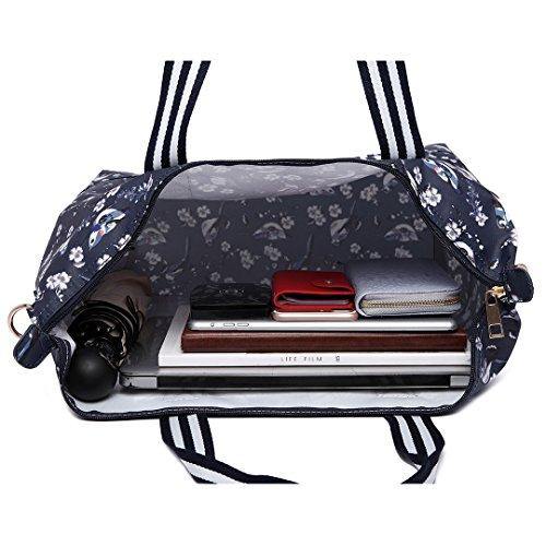 Flower Bird 16bird Bag Women Large Handbag Miss Pcs Trendy Handbags Tote Oilcloth Set navy Foldable Lulu Tote 6641 2 0TRwxq8