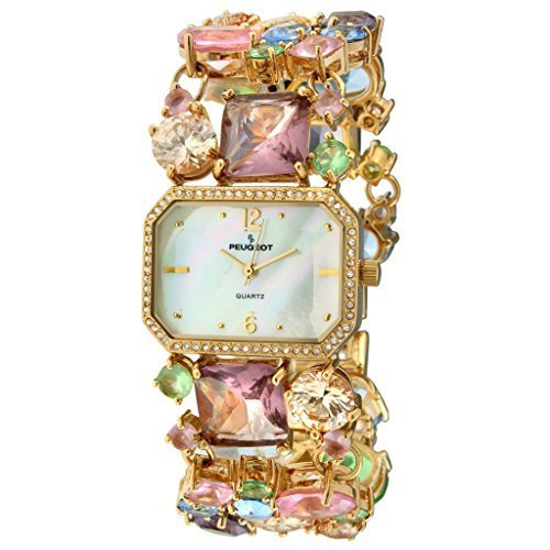 Peugeot Women's Mosaic Colored Glass Quartz Watch with Brass Strap, Multi, 28 (Model: 1653)