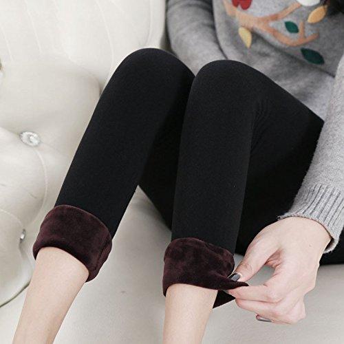 GBHNJ Leggings Double Marbre Coton Transparent Plus Épais Taille Haute Peuvent Être Portés À L'Extérieur Women'S L'Automne Et L'Hiver Noir Thermique F(Poids Approprié 80-130 Catty)