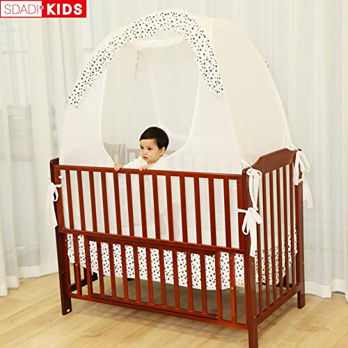 SDADI Baby Crib Safety Tent Pop Up Mosquito Net with Baby Monitor Hang Ribbon,Toddler Bed Canopy Netting Cover |Star WLCN01S by SDADI (Image #6)