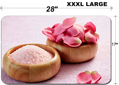 (Liili Large Table Mat Non-Slip Natural Rubber Desk Pads bowl of pink with pink rose petals beauty treatment Photo 5669849)