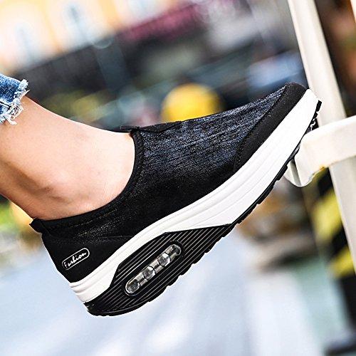 Zapatos CONMING la Talón Estilo con Amortiguador el Mujer Gruesa para de Black con Respirables Zapatos Ligeros de Viaje Aire Inferior de Cuña Simples 6qEv1w