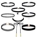 Image of Outus 8 Pieces Choker Necklace Set Stretch Velvet Classic Gothic Tattoo Lace Choker Necklaces, Black