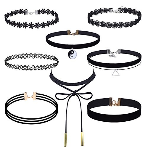 Outus 8 Pieces Choker Necklace Set Stretch Velvet Classic Gothic Tattoo Lace Choker Necklaces, Black Image