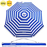 MOVTOTOP Beach Umbrella, 6.5ft Sand Anchor with Tilt Aluminum Pole, Portable UV 100+ Protection Beach Umbrella with Carry Bag for Outdoor Patio