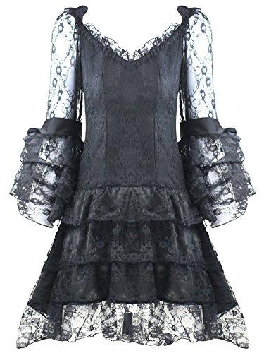Minikleid in schwarze Spitze mit Bustier rot Pirat elegant Gothic ...