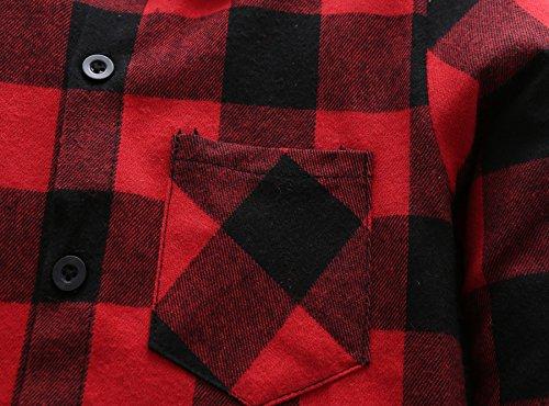 Grandwish Kids Long Sleeve Boy's Girl's Plaid Flannel Shirt Red Black 6 by Grandwish (Image #5)